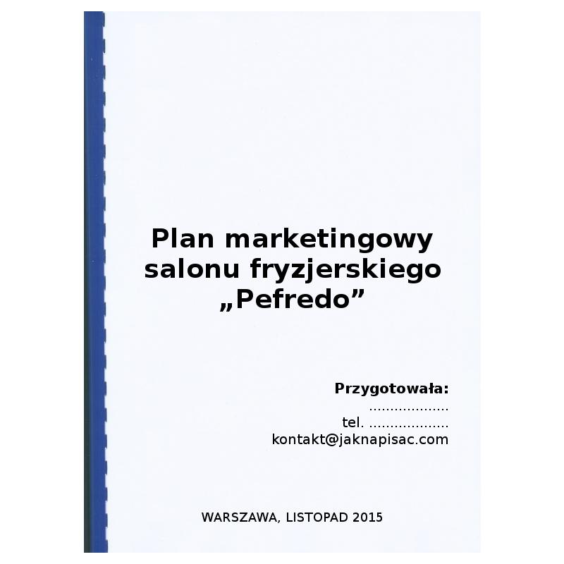 Plan marketingowy salonu fryzjerskiego Pefredo - przykład