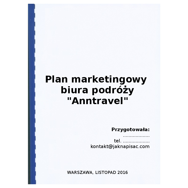 "Plan marketingowy biura podróży ""Anntravel"""