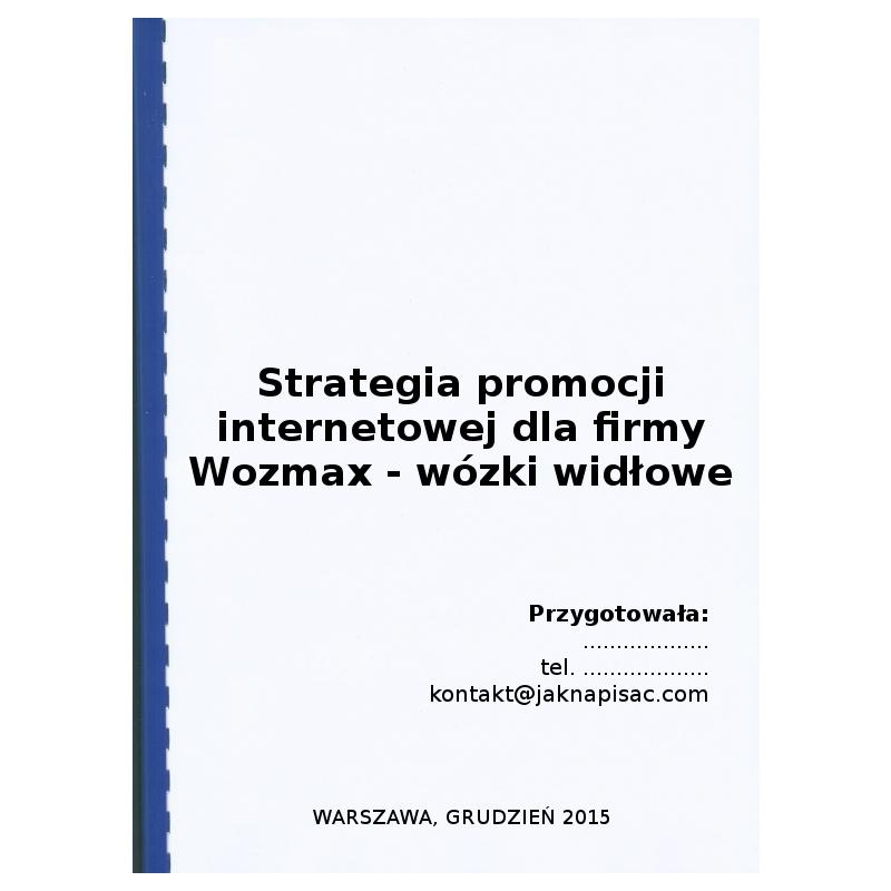Strategia promocji internetowej dla firmy Wozmax - wózki widłowe - przykład