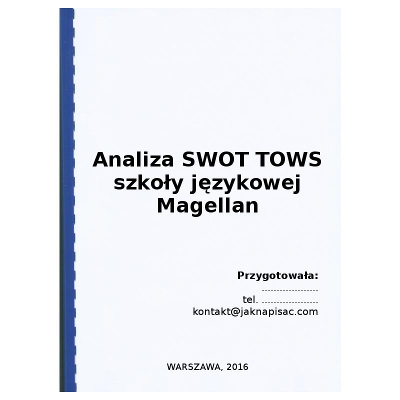 Analiza SWOT TOWS szkoły językowej Magellan - przykład