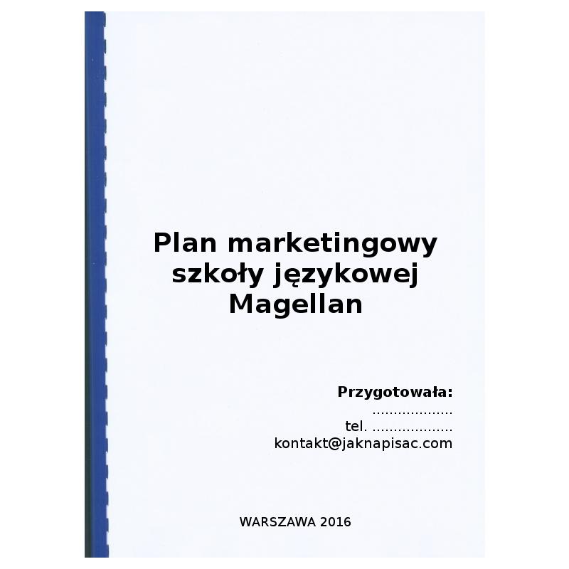 Plan marketingowy szkoły językowej Magellan - przykład
