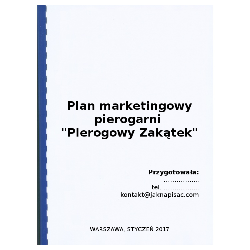 "Plan marketingowy pierogarni ""Pierogowy Zakątek"""