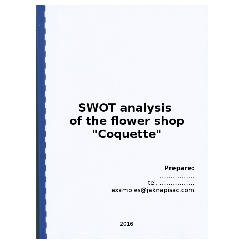 "SWOT analysis of the flower shop ""Coquette"" - example"