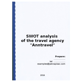 "SWOT analysis of the travel agency ""Anntravel"" - example"