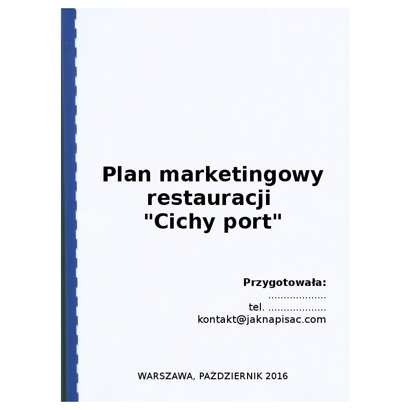 "Plan marketingowy restauracji ""Cichy port"""