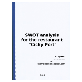 "SWOT analysis for the restaurant ""Cichy Port"""